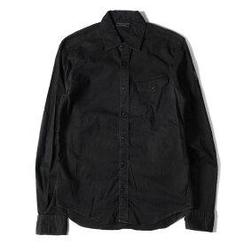 Belstaff ベルスタッフ シャツ 16SS ウォッシュ 加工 ストレッチ ツイル ボタン シャツ ブラック S 【メンズ】【中古】【K2753】