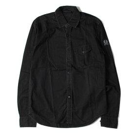 Belstaff ベルスタッフ シャツ ウォッシュ 加工 コットン ツイル ボタン シャツ ブラック S 【メンズ】【中古】【K2753】