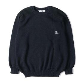 BURBERRY バーバリー セーター 90's レザーパッチ 付き ウール ニット セーター イングランド製 ネイビー XL 【メンズ】【中古】【K2575】