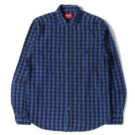 Supreme シュプリーム シャツ ブロックチェック コットン シャツ ロイヤル ブラック M 【メンズ】【中古】【K2506】