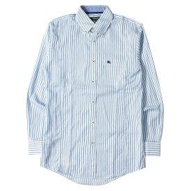 BURBERRY バーバリー シャツ ストライプ ボタンダウンシャツ BLACK LABEL ホワイト×ブルー×ネイビー 38 【メンズ】【中古】【美品】【K2506】