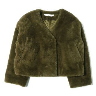 JOURNAL STANDARD journal standard Eco fur V neck short blouson 18 khaki in the fall and winter