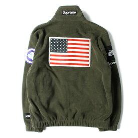 Supreme シュプリーム ジャケット THE NORTH FACE ノースフェイス 星条旗 ポーラテック フリースジャケット Fleece Jacket 17SS オリーブ S コラボ アウター【メンズ】【K3163】