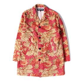 Supreme シュプリーム コート 18SS クラシックロゴ 刺繍 デニム トレンチコート Washed Work Trench Coat フローラル M 【メンズ】【美品】【中古】【K2551】