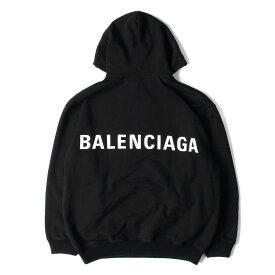BALENCIAGA バレンシアガ パーカー 17AW オーバーサイズ バックロゴ プリント スウェット パーカー ポルトガル製 508184 TYK54 ブラック M 【メンズ】【中古】【K2528】