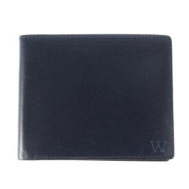 J.M.Weston ジェイエムウエストン 財布 Wロゴ ステッチ レザー ウォレット 財布 ネイビー 【メンズ】【中古】【美品】【K2534】