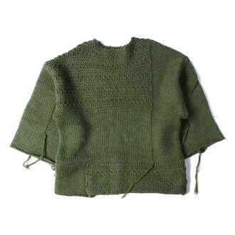 RBS Ray BEAMS are B S lei BEAMS Co., Ltd. patchwork big pullover fringe knit 18 khaki in the fall and winter