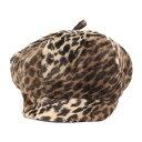 misaharada ミサハラダ レオパード シャギー ベレー帽 ブラウン系 【レディース】【中古】【K2539】
