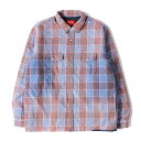Supreme シュプリーム シャツ 18AW フェード加工 キルティングライナー チェック ネルシャツ Quilted Faded Plaid Shi…