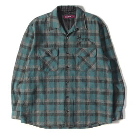 HIDE&SEEK ハイドアンドシーク シャツ オープンカラー チェック ウール ボタン シャツ エメラルドグリーン ブラック グレー L 【メンズ】【中古】【美品】【K2735】