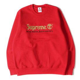 Supreme シュプリーム スウェット Timberland ブランドロゴ 刺繍 クルーネック スウェット Crewneck 20SS レッド M 【メンズ】【K2633】
