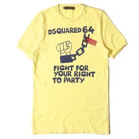 DSQUARED2 ディースクエアード Tシャツ グラフィック プリント クルーネック Tシャツ イエロー XS 【メンズ】【中古】【K2733】