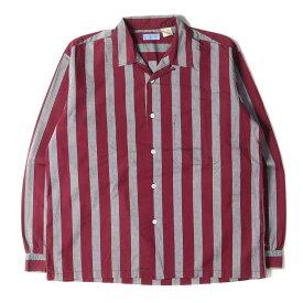 GOOD ENOUGH グッドイナフ シャツ 袖 クラシックロゴ オープンカラー ストライプシャツ 90s ディープレッド グレー M 【メンズ】【中古】【K2709】
