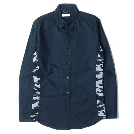JUN HASHIMOTO ジュンハシモト シャツ 迷彩柄切替 コットン ボタンダウンシャツ SIDE JERSEY CAMO B.D SHIRT ネイビー 3 【メンズ】【中古】【K2713】