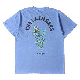 CHALLENGER チャレンジャー Tシャツ MASH UP KYOTO 5周年記念 ウォッシュ加工 Tシャツ SNAKE DRAGON TEE 20SS ブルー M 【メンズ】【美品】【中古】【K2715】