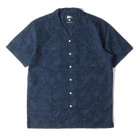 Pilgrim Surf+Supply ピルグリム サーフ+サプライ シャツ 花柄エンブロイダリーブロード オープンカラー 半袖シャツ Vincent SS Embroidery Shirt 19SS ネイビー S 【メンズ】【美品】【中古】【K2729】