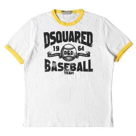 DSQUARED2 ディースクエアード Tシャツ ブランドロゴ リンガーTシャツ ホワイト×イエロー M 【メンズ】【中古】【K2734】