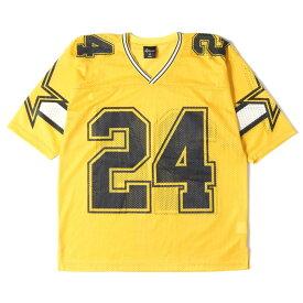 24karats 24カラッツ Tシャツ ナンバリングロゴ メッシュ フットボール Tシャツ イエロー M 【メンズ】【中古】【美品】【K2760】