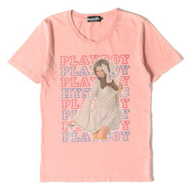 HYSTERIC GLAMOUR ヒステリックグラマー Tシャツ PLAY BOY レディー フォト Vネック Tシャツ 日本製 ピンク S 【メンズ】【中古】【K3126】