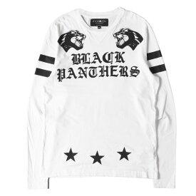 HYDROGEN ハイドロゲン Tシャツ タイガー ナンバリング スタープリント ロングスリーブTシャツ ホワイト M 【メンズ】【中古】【K2801】