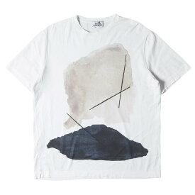 HERMES エルメス Tシャツ イラストプリント クルーネック Tシャツ イタリア製 ホワイト L 【メンズ】【中古】【K2765】