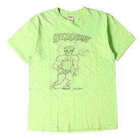 Supreme シュプリーム Tシャツ Daniel Johnston キャプテン・アメリカ イラスト Tシャツ Jesus Loves Tee 12SS アシッドグリーン L 【メンズ】【中古】【K2769】