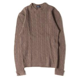 Drumohr ドルモア セーター ケーブル編み ウールニットセーター モカ 44 【メンズ】【中古】【K2837】