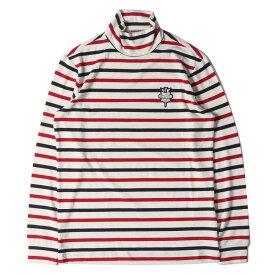 BEAMS ビームス Tシャツ エンブレムワッペン付き モックネック ボーダー ロングスリーブTシャツ BEAMS GOLF パープルレーベル ホワイト M 【メンズ】【美品】【中古】【K2818】