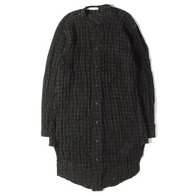 NostraSantissima ノストラサンティッシマ シャツ シワ加工 ブロックチェック リネン バンドカラー ロングシャツ イタリア製 ブラック 46 【メンズ】【中古】【美品】【K2912】