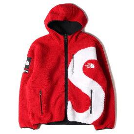 Supreme シュプリーム ジャケット THE NORTH FACE ノースフェイス Sロゴ フリースジャケット アウター ブルゾン S Logo Hooded Fleece 20AW レッド 赤 M コラボ【メンズ】【美品】【中古】【K2937】