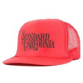 STANDARD CALIFORNIA スタンダードカリフォルニア キャップ ブランドロゴ プリント メッシュキャップ レッド 【メンズ】【中古】【美品】【K2955】