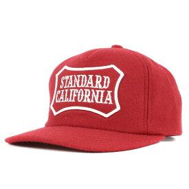 STANDARD CALIFORNIA スタンダードカリフォルニア キャップ ブランドロゴ ワッペン ウール スナップバック キャップ SD Logo Wappen Wool Cap レッド 【メンズ】【中古】【美品】【K2955】