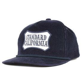 STANDARD CALIFORNIA スタンダードカリフォルニア キャップ シールドロゴ パッチ コーデュロイ 5パネルキャップ ネイビー 【メンズ】【中古】【美品】【K2955】
