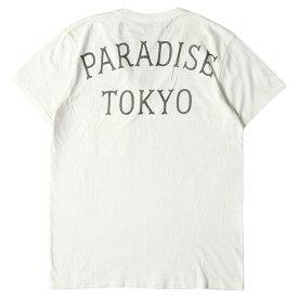 WACKO MARIA ワコマリア Tシャツ PARADISE TOKYO ロゴ Vネック Tシャツ 半袖 ホワイト S 【メンズ】【中古】【K3069】