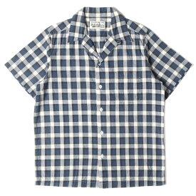 WACKO MARIA ワコマリア シャツ オープンカラー 半袖 チェック シャツ ネイビー S 【メンズ】【中古】【K3068】