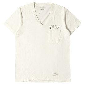 WACKO MARIA ワコマリア Tシャツ FUNKロゴ Vネック ポケットTシャツ 半袖 ホワイト 白 S 【メンズ】【中古】【K3069】