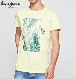 ペペジーンズ ロンドン メンズ トップス 半袖 プリント Tシャツ PEPE JEANS LONDON OWAIN LIME YELLOW【あす楽対応】