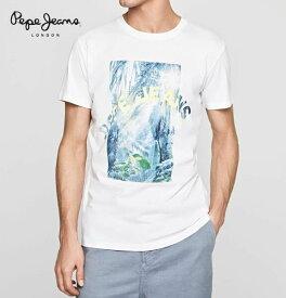 ペペジーンズ ロンドン メンズ トップス 半袖 プリント Tシャツ PEPE JEANS LONDON OWAIN OPTIC WHITE【あす楽対応】