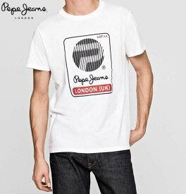 ペペジーンズ ロンドン メンズ トップス 半袖 プリント Tシャツ PEPE JEANS LONDON WEST 45TH 04M OFF WHITE【あす楽対応】