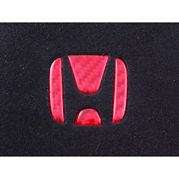HONDA ホンダ カーボン製 ハンドル エンブレム デコレーショントリム レッドカーボン ステッカータイプ ステアリング アクセサリー カスタムパーツ ステッカー
