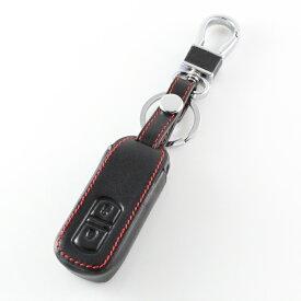 ホンダ スマートキーカバー レザー 本革 キーケース 2つボタンタイプ ブラックレザー×レッドステッチ 送料無料 専用設計 レザーキーカバー キーホルダー