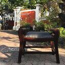 アジアン家具 チーク 椅子 クラブスツール アンティーク家具 バリ家具 チーク材 木製 天然木 レザー アジアン 送料無料