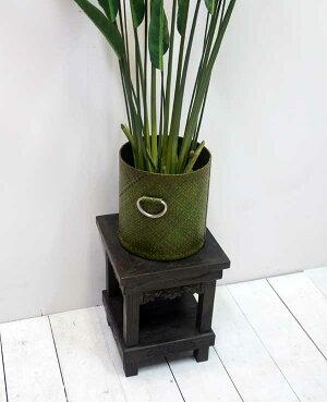 アジアン家具チーク花台スツール45cm(古木/バリ/椅子/アンティーク/木製/おしゃれ)