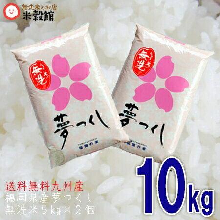 平成30年産 九州産 米 福岡県産「夢つくし」 10kg(5キロ×2個セット) 無洗米 5kg 送料無料
