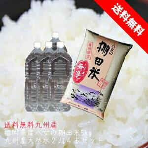 無洗米 5kg 福岡県八女の棚田米 ヒノヒカリと九州の水2L×4本セット
