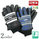 EDWIN エドウィン ジュニア キッズ 杢調 ボーダー 手袋 ブルー グリーン ブラック ET009【Y-0261】 EDWIN Junior 裏起…