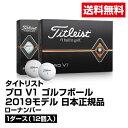 送料無料 ゴルフボール Titleist タイトリスト Pro V1 日本正規品 2019モデル ローナンバー (ホワイト)1ダース 12個入_4549683307809_91