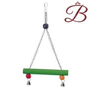 イタリアferplast社製 PA 4098 鳥 木製 おもちゃ バードトイ 止まり木 ブランコ ぶらんこ 簡単取り付け 鈴付き 吊り下げ式