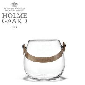 ガラス ポット ホルムガード HOLMEGAARD DESIGN WITH LIGHT Pot with leather handle clear H10cm (S)ガラス ポット4343516 吹きガラス北欧 雑貨 花瓶 インテリア小物・置物 ギフト プレゼント