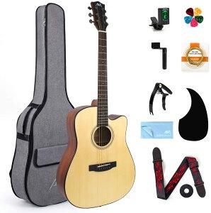 AKLOT アコースティックギターセット マホガニー製のギター 学生 初心者入門セット ビッグバッグ チューナー ストラップ ピックアップ 予備弦付属 40インチ アコギ